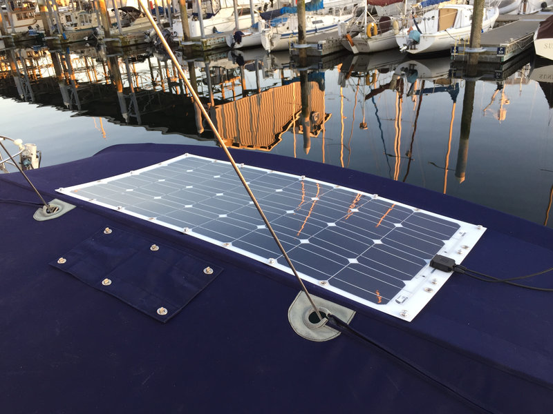 how to fix flexible solar panel on bimini